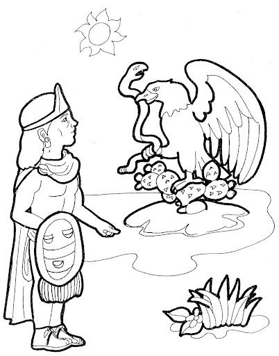 conquista de tenochtitlan dibujos para colorear
