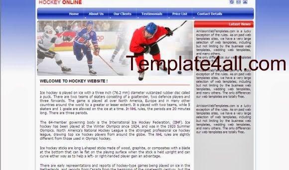 Free CSS Blue Hockey Snow Website Template
