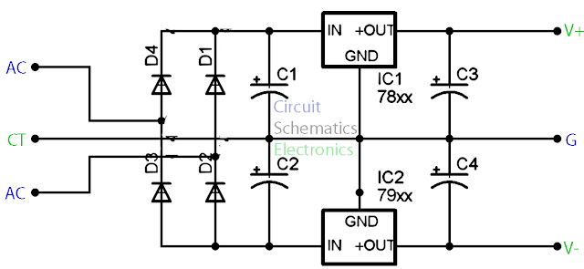 and 79xx stabilizer circuit with mini pcb design electronic circuit
