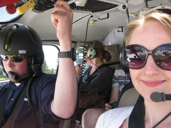 Ready for take-off! Christina co-piloting a helicopter at Grouse Mountain!
