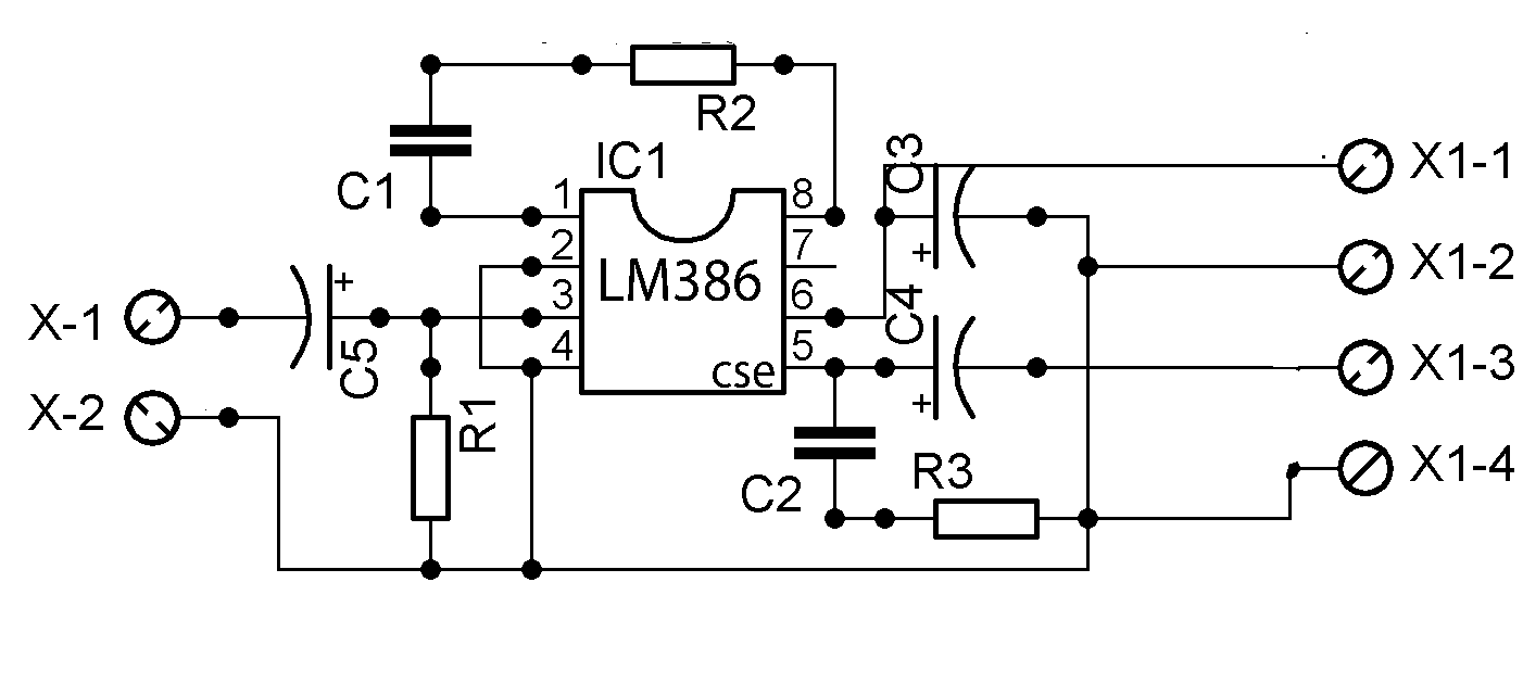 power amplifier circuit with ic lm386