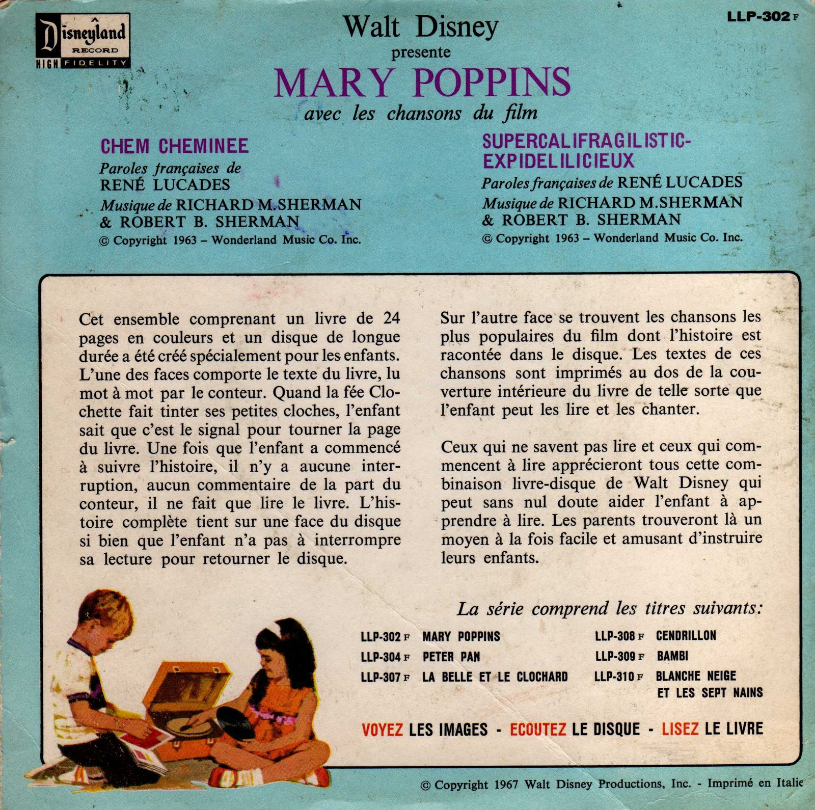 Chem Cheminée Paroles En Broc Llp 302 F Mary Poppins Disneyland Records 1967