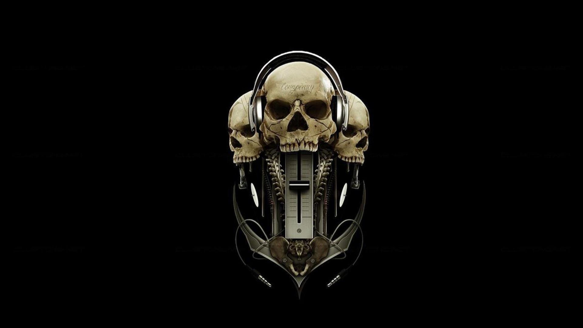 Digital Headphone Wallpaper Girl Skull Headphone Mystery Wallpaper