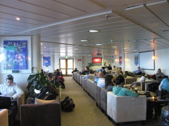 The lounge on the Interislander ferry