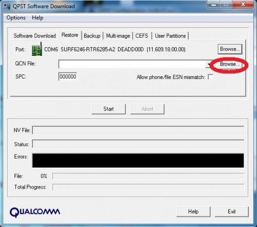 QPST restore Nvitems