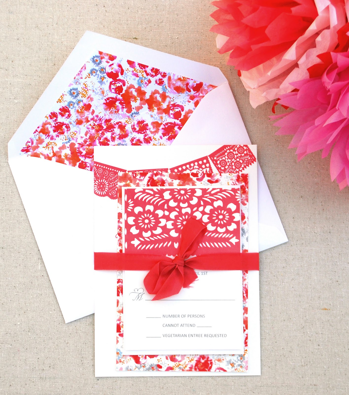 papel picado custom invitation design mexican wedding invitations The invitation suite is tied together with a raspberry rayon ribbon I hand painted a Liberty of London inspired floral pattern that we used for the back of
