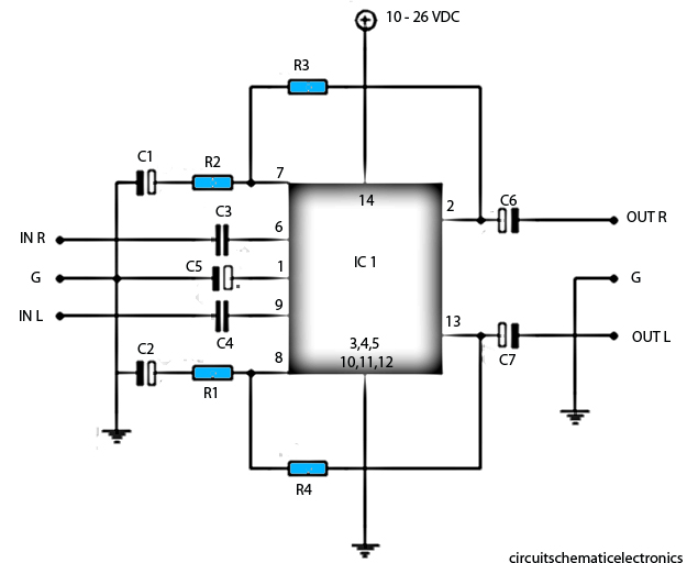 lm377 power amplifier schematic