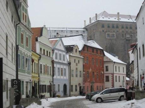 Cesky store fronts below the castle