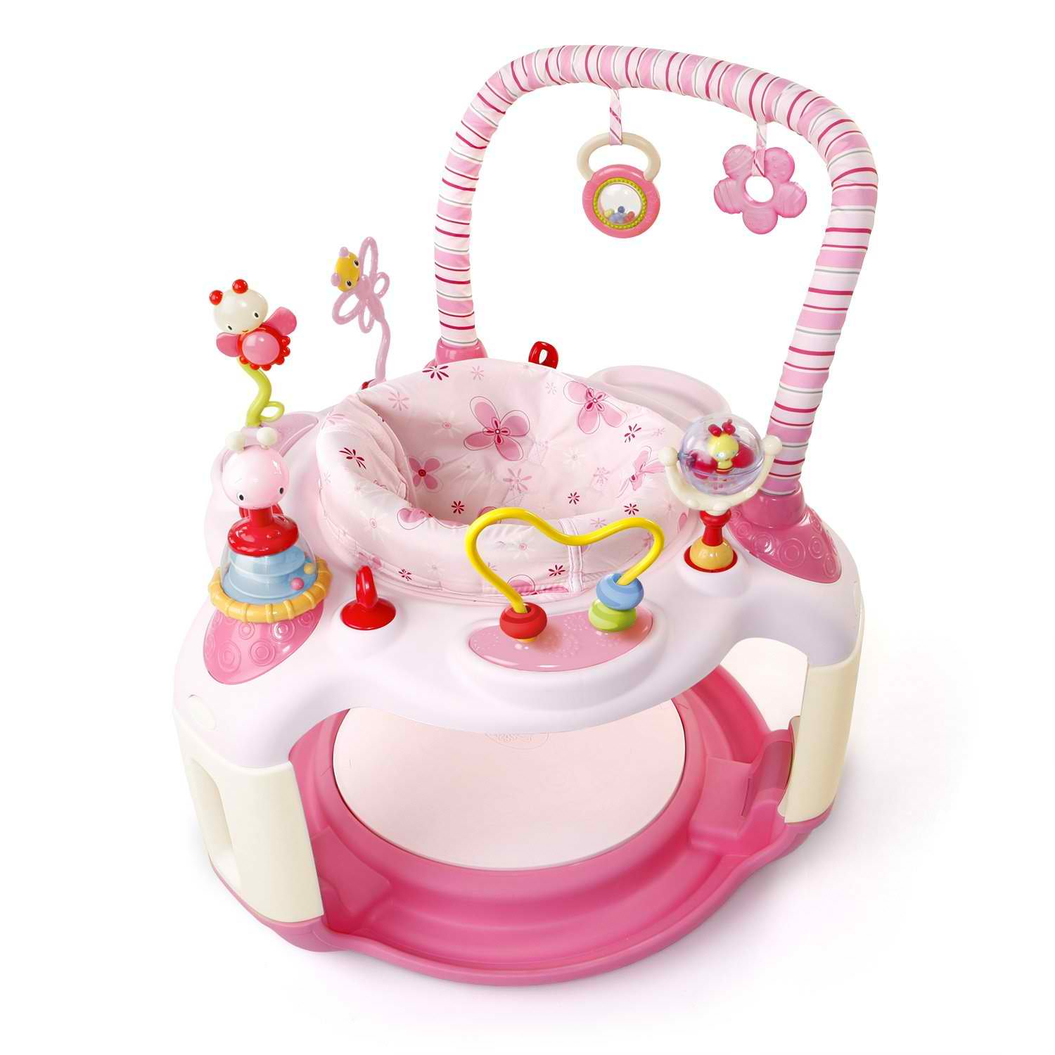 Exersaucer Images Bright Starts Pink Bounce-a-bout Baby Activity Center