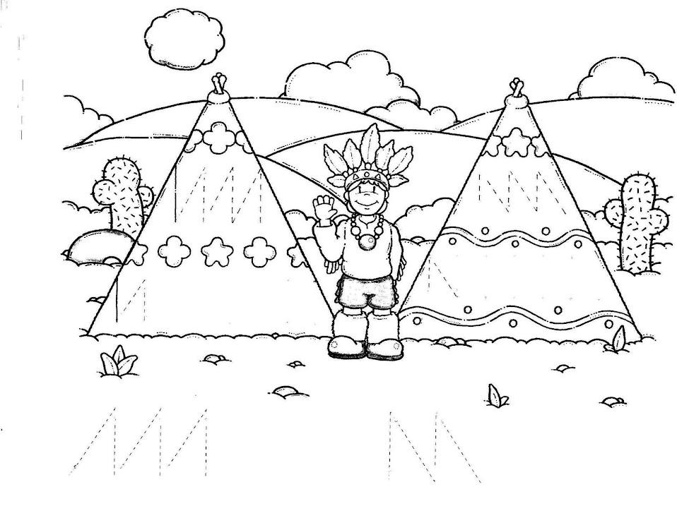schrijfpatroon voor kleuters \/ thema indianen indianen - printable preschool worksheet