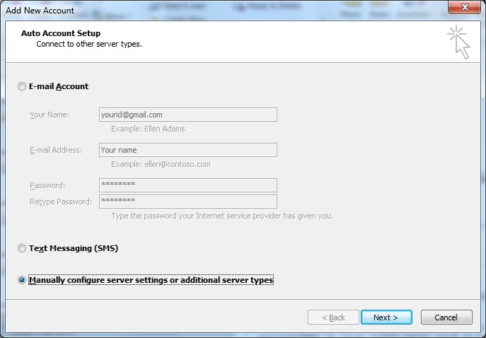 Outlook 2010 Setup IMAP access for Gmail - create outlook account