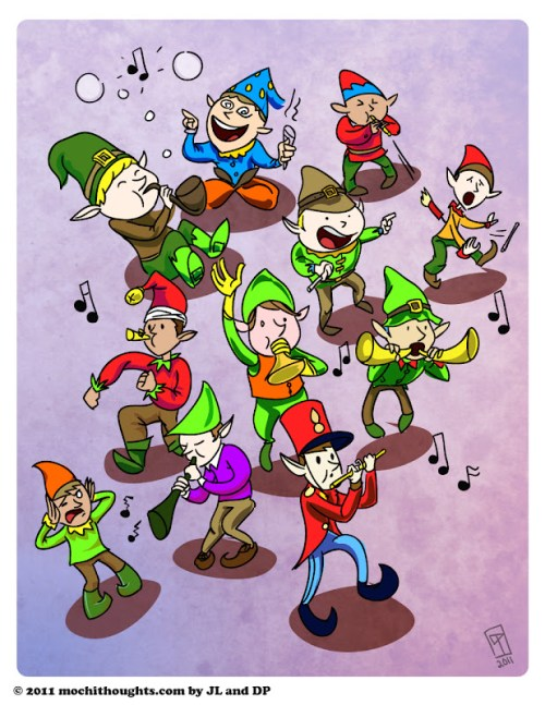 Cute Illustration, Eleventh Day of Christmas, Eleven Pipers Piping