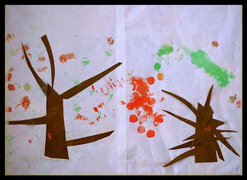 Podzimní stromy - korkových razítkama