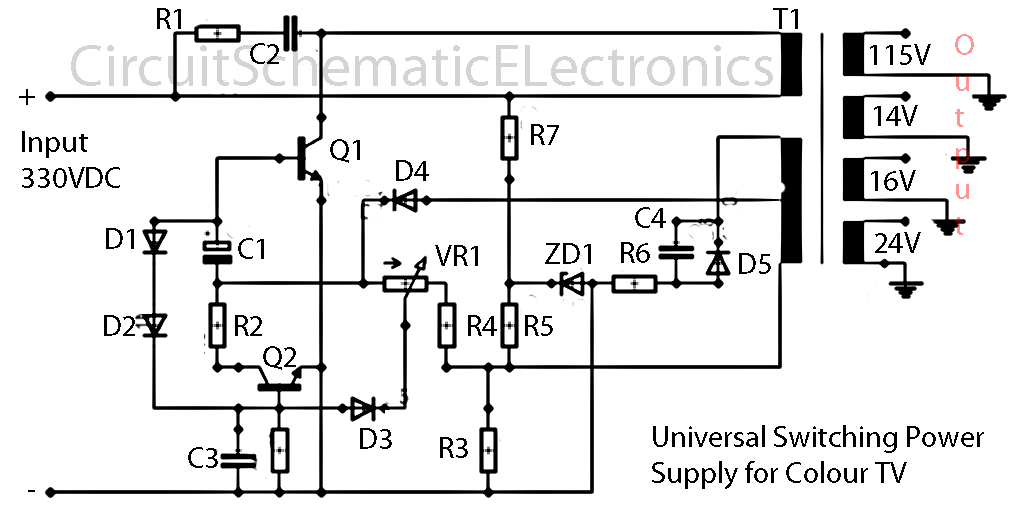 output switching power supply circuit schematic diagram schematic