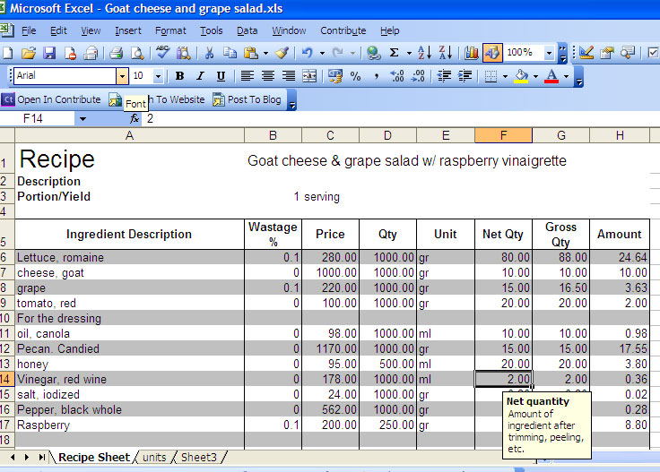 Personal Chef Manila Recipe Cost Excel Sheet