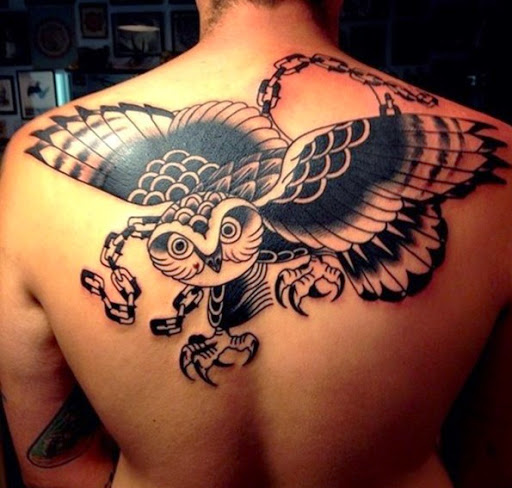 flying owl tattoo design on back for men