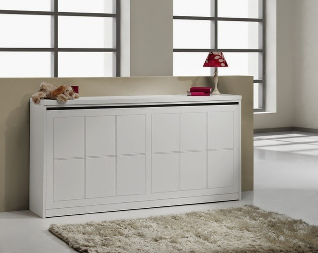 Mueble Cama Abatible Horizontal Matrimonio Cama Plegable Simple Lacada Blanca