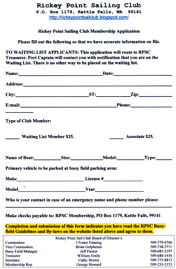 Rickey Point Sail Club RPSC Membership App and 2013 Billing info