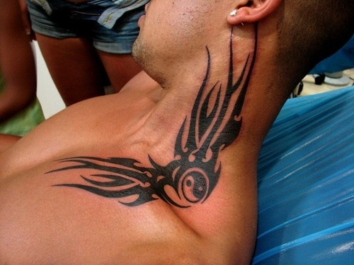 tribal neck tattoo design for men