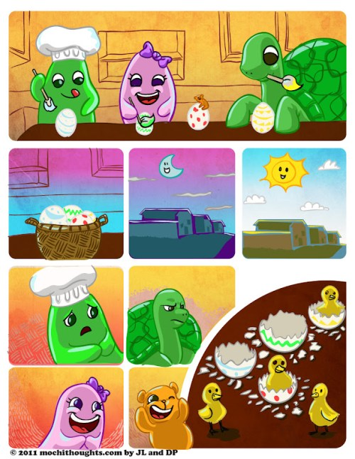 Cute Webcomic with Chef Mochi and Friends Painting Eggs