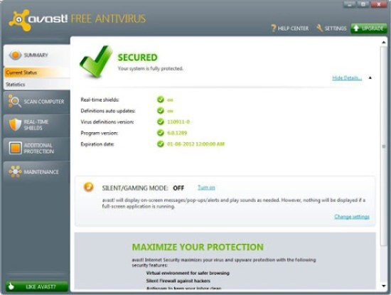  Download Avast! Free Antivirus 6.0.1289
