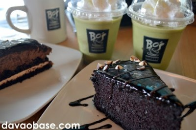 Super Moist Chocolate Cake at Macha Green Tea Freeze at Bo's Coffee