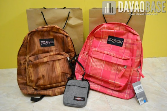 Spankin' new bags from Bratpack Abreeza: Jansport backpacks and Eastpak sling bag