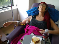 Trish sleeps through most of the third chemo session.