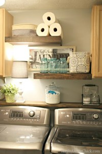 DIY Wood Shelving (Laundry Storage) from Thrifty Decor Chick
