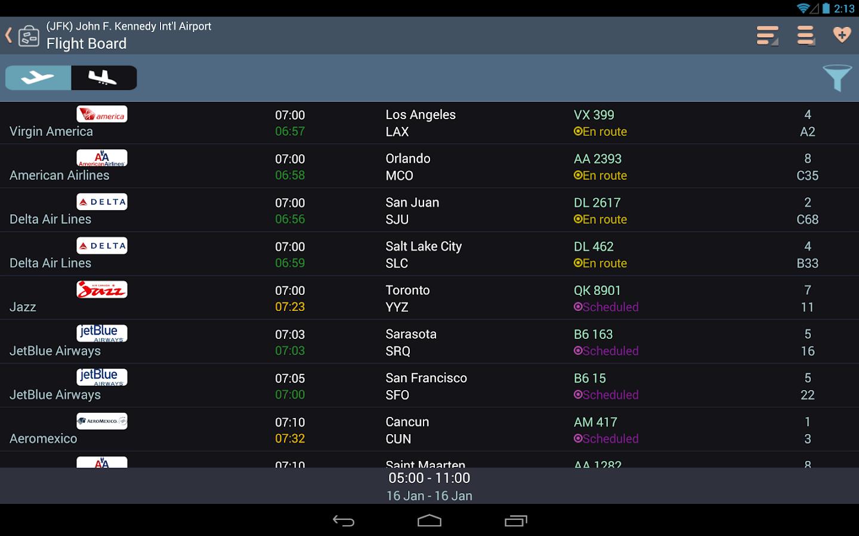 Airline flight status tracker trip planning screenshot