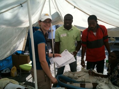 ICU nurse, Jacque, one of our translators, and a patient with an external fixator