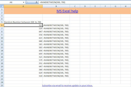 Microsoft Excel and VBA help Rand and Randbetween function to