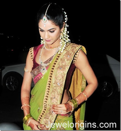 South Indian Celebrity Sneha Reddy With Designer Gold Bridal Necklace