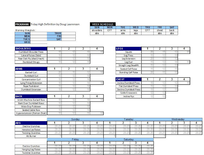 Printable Weekly Logs for MS Routines Muscle  Strength Forums - printable workout sheet