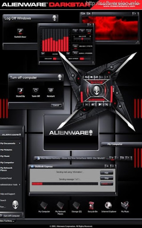 Alienware Invader theme for windows 7 2011 Red