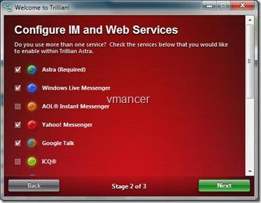 Trillian: configure Instant messenger and web service