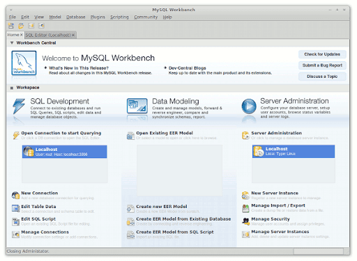MySQL Workbench 5.2.17 Beta 7 corriendo en Ubuntu