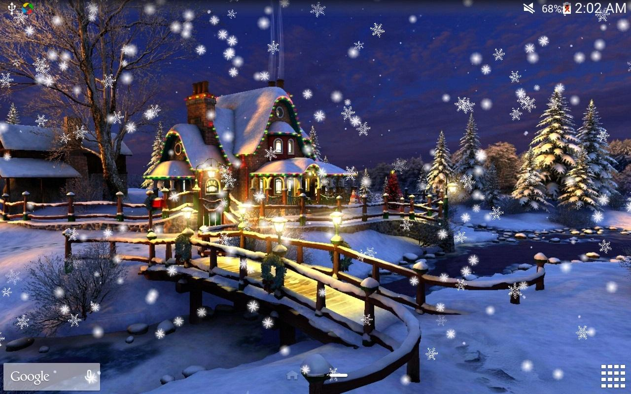 3d Snowy Cottage Animated Wallpaper Free Download Christmas Night Live Wallpaper Android Apps On Google Play