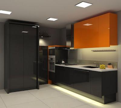 Sentuhan Oranye Pada Kabinet Dapur