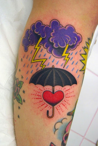 purple color Cloud tattoo with umbrella
