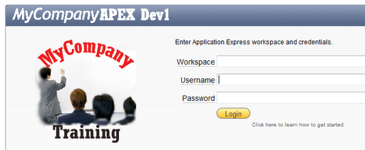 Customized APEX workspace logon page