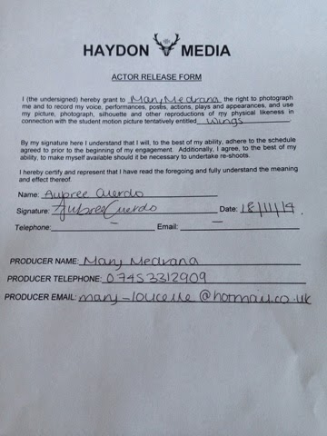 Mary Medrana Media G324 Actor release form - actor release form