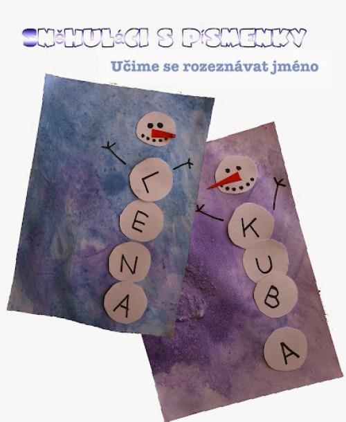 Sněhuláci - poznávání písmenek s malými dětmi