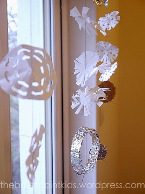 Záclona ze sněhových vloček výrobky pro děti