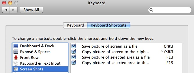 Digbys Help Mac OSX Change the keyboard shortcuts for screen capture