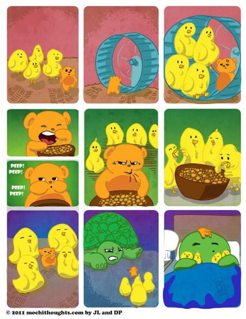 Cute Webcomic, Chicks Follow Hamster the Leader