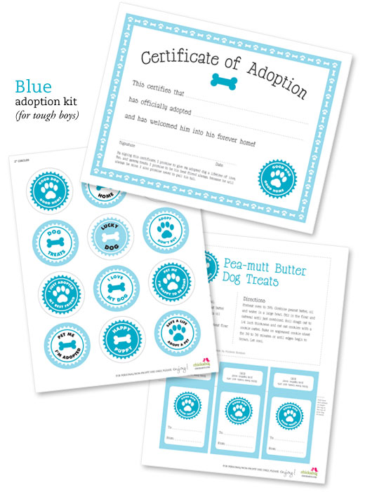 Free printable dog adoption kit Chickabug - blank adoption certificate template