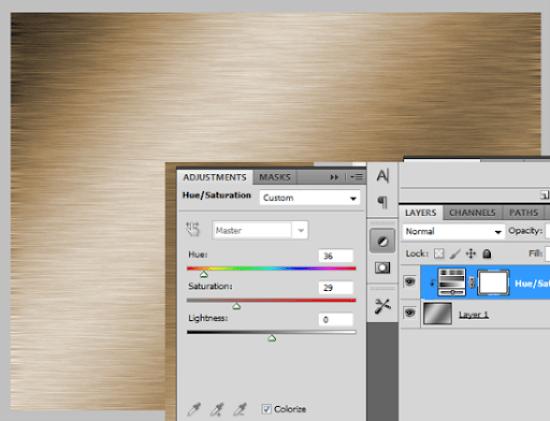 Exemplo de textura com cor através de Adjustment Layer - Hue/Saturation