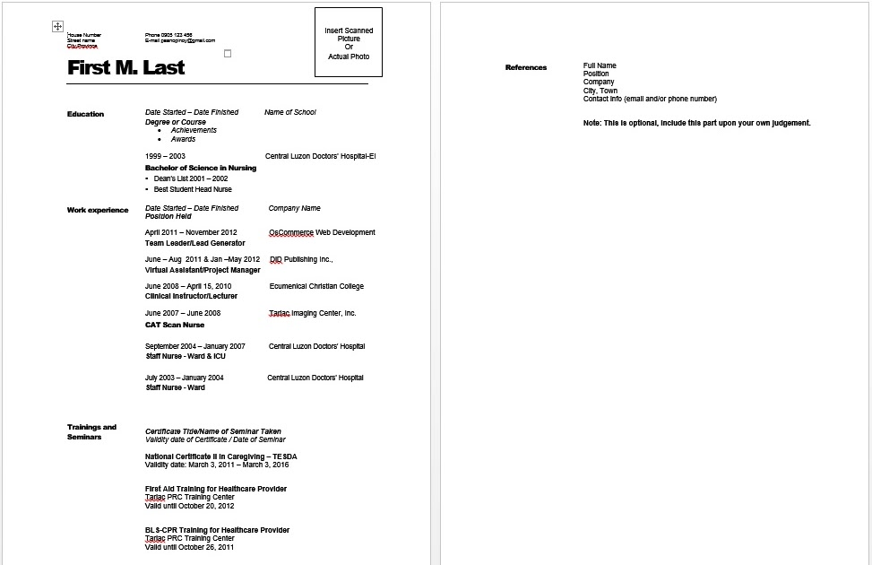 sample resume on go lang