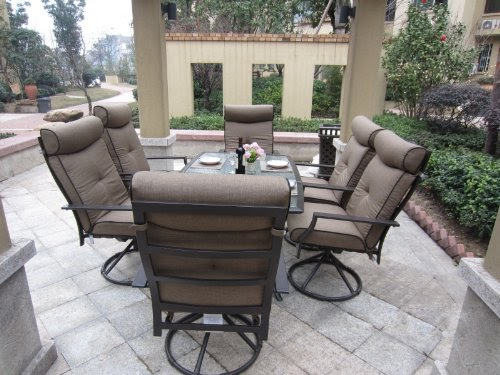 Patio Sets Clearance 7pc Ravello Outdoor Patio Dining Set Swivel Rocking Promo Offer - Garden Furniture Dining Set Clearance